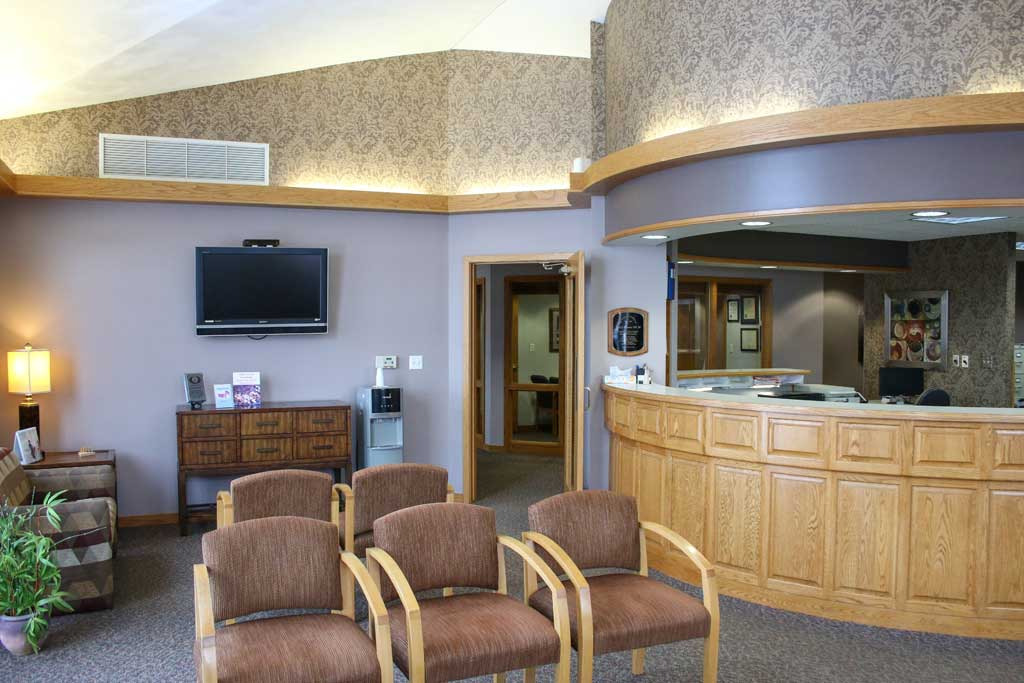 The wait and reception area at Wanserski Dental Center for Complex Dentistry.
